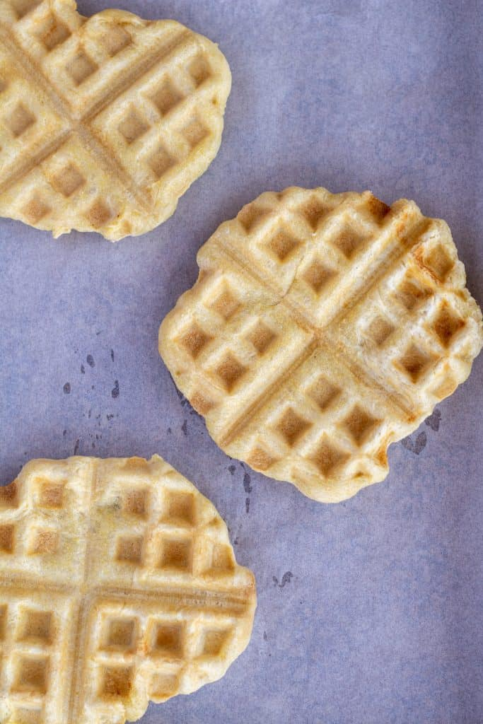 waffle iron pizza crust on a white background