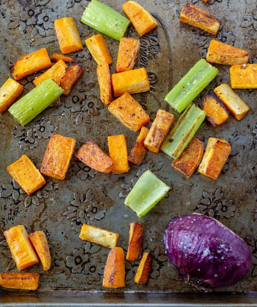 roasted veggies on sheet pan