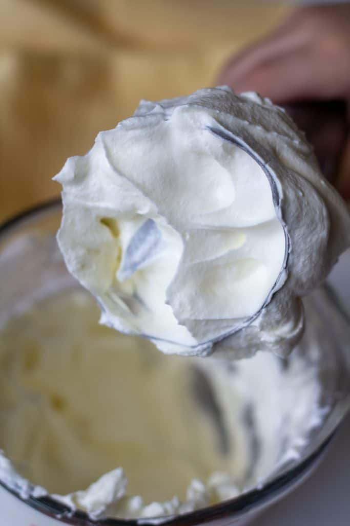 whipped cream on the end of an immersion blender