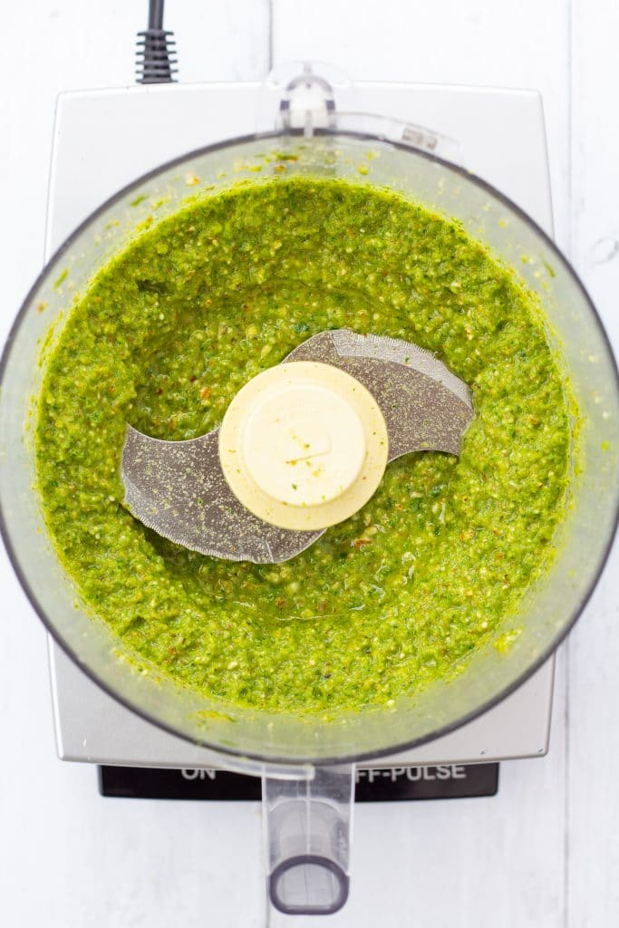 green sauce in a food processor