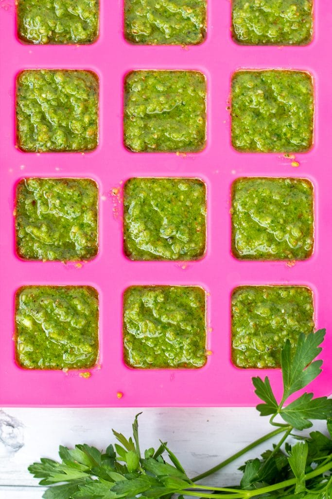 sauce in squares in a pink silicone mat