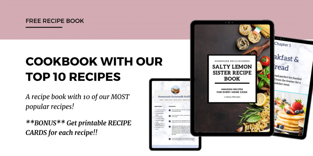 "photo with text ""Cookbook with 10 of our most popular recipes"""