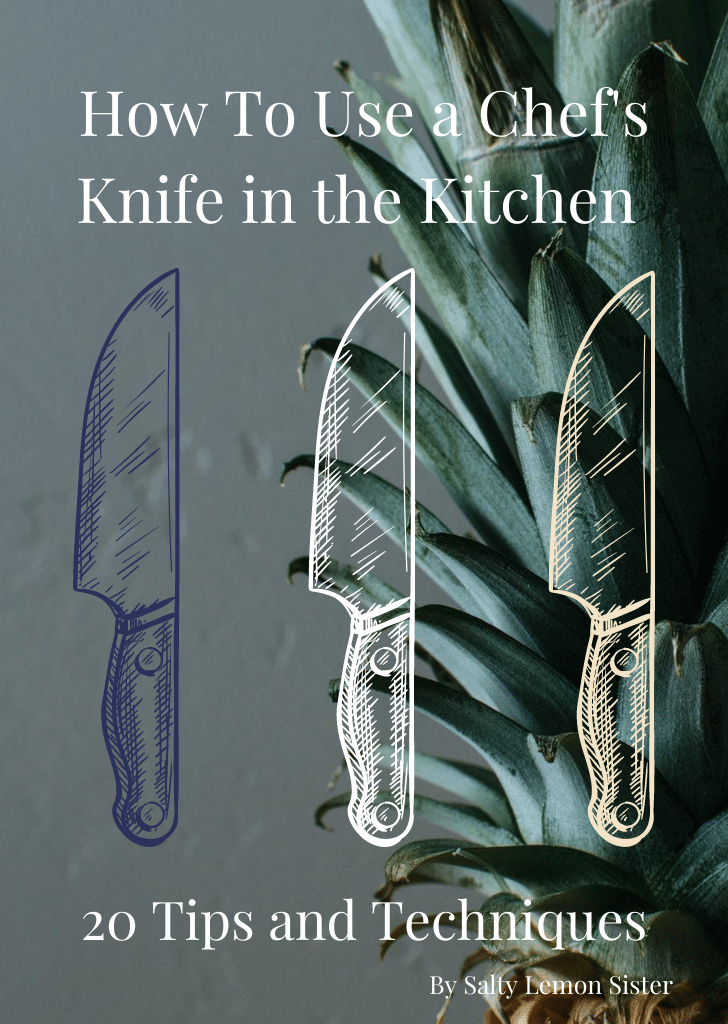 "image with text, ""How To Use a Chef's Knife in the Kitchen."""
