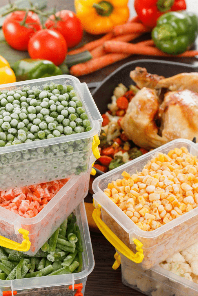 Frozen vegetables in plastic containers