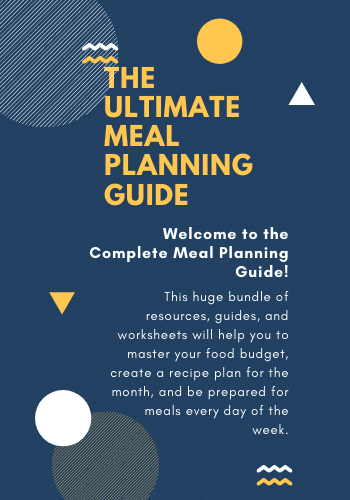 "A text based image with a dark blue background and yellow and white accents. ""The Ultimate Meal Planning Guide"""