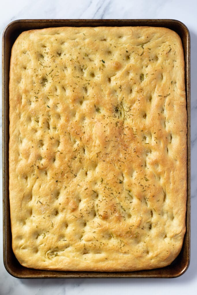 baked focaccia in a pan