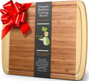 An extra large bamboo cutting board