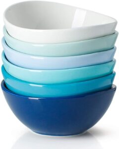 A stack of blue based bowls
