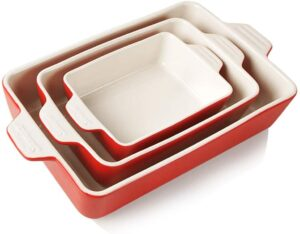 A set of stone casserole dishes nested in each other