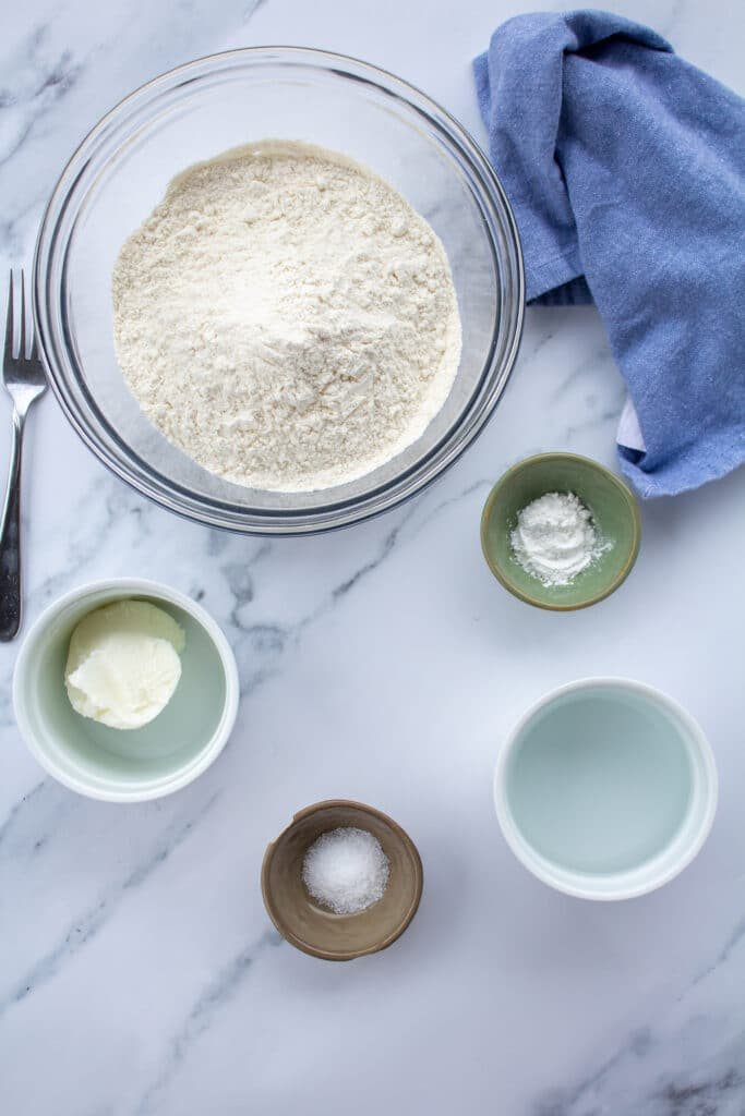 ingredients for tortillas in little bowls