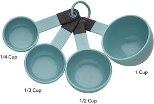 A set of teal and black measuring cups