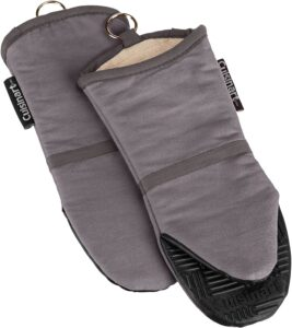 A set of gray oven mitts