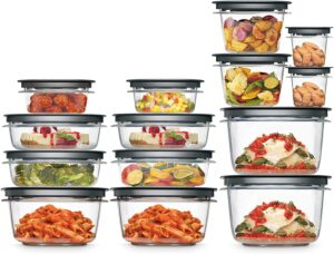 28 pieces of plastic containers with lids filled with food in an artful design
