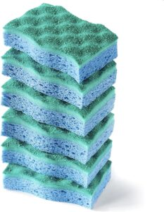 A stack of green and blue sponges