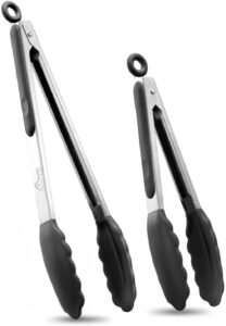 A set of two kitchen tongs with silicone tips