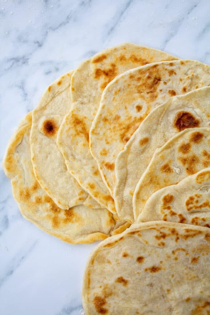 cooked tortillas in a fan shape