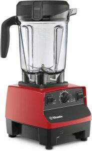 A large red and black blender