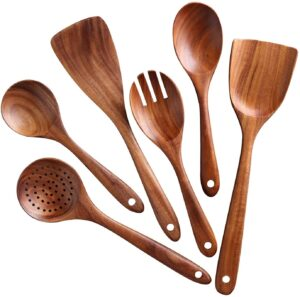 A set of wood spoons in an artful design